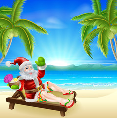 Summer Christmas Santa Beach Scene