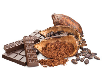 Cocoa and chocolate isolated on a white