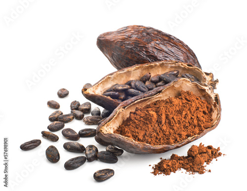 Cocoa pod, beans and powder isolated on a white - 57698901