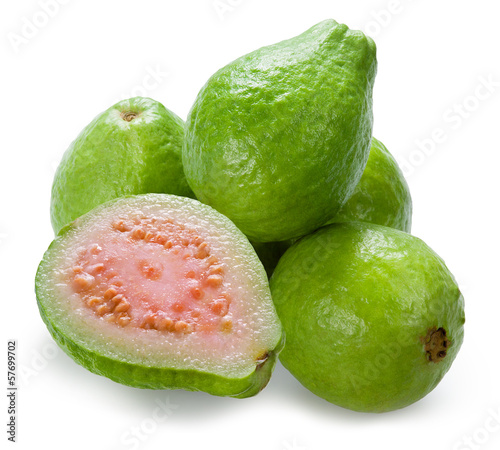 Guava. Group with a half on white