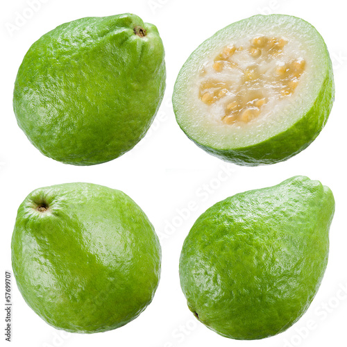 Guava isolated on white background. Collection