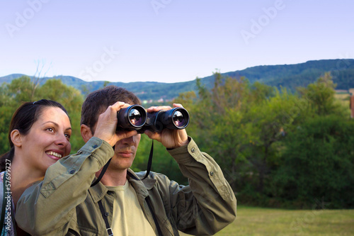 Birdwatching with binoculars