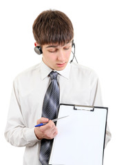 Teenager with Headset and Clipboard