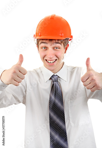 Happy Teenager in Hard Hat