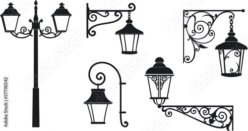 Iron wrought lanterns with decorative ornaments. Vector