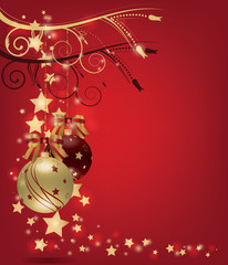 Christmas postcard with gold christmas balls