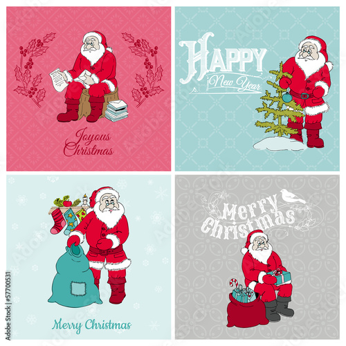 Santa Claus Christmas Cards - for design and scrapbook