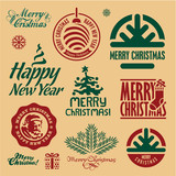 Christmas stamps. Merry Christmas vector labels.