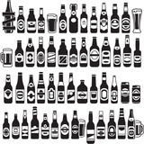 Vector black beer bottles icons set. Beer can.