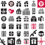 Gift icon set. Gift box.
