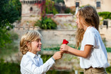Youngster declaring love to girlfriend. poster