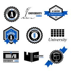 University Labels Set - Isolated On White Background