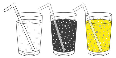 3 x Limonade mit Trinkhalm