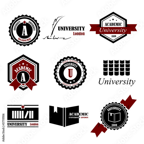 University Labels Set - Isolated On White Background