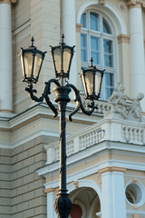 Street light by famous Odessa Opera and Ballet Theater