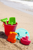 plastic toys on the beach