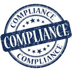 Compliance grunge blue round scratched stamp