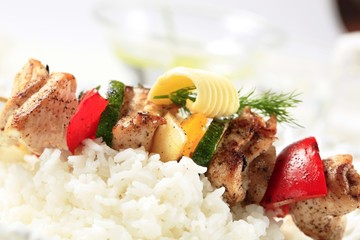 Chicken shish kebab with rice