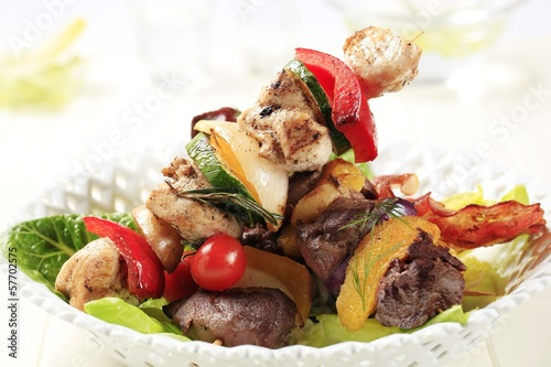 Grilled shish kebabs