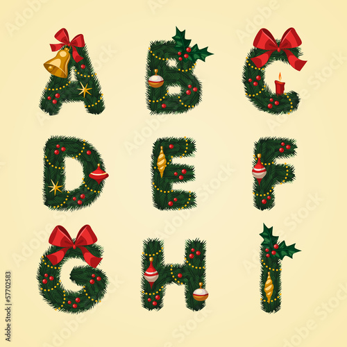 Christmas Alphabet. Vector illustration.