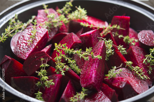 Food: Raw Beetroot and Thyme in a Tagine, ready to be stewed