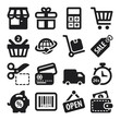 Shopping flat icons. Black