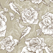 BeautifulSeamless Rose Background with Birds