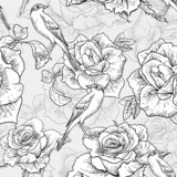 BeautifulSeamless Rose Background with Birds - 57703173