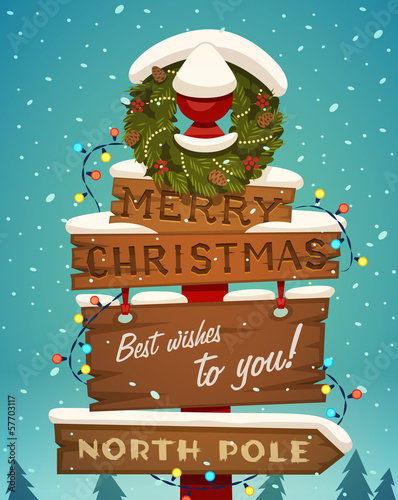 Snow covered wooden sign. Merry christmas greeting card.