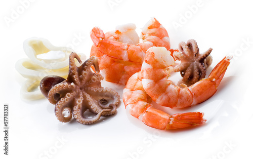 Shrimps, octopus; and squid. Seafood isolated