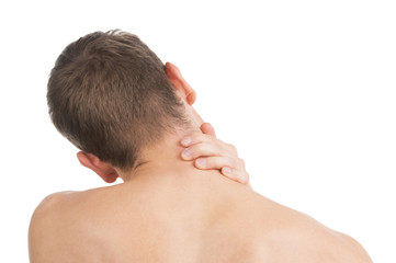 Pain Neck. The back of Man. Isolated on white