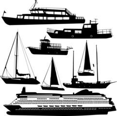 ships transportation collection vector cruiser, motor-yacht