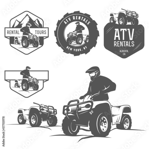 Set of ATV labels, badges and design elements