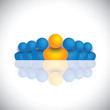 leader & leadership concept with blue orange people icons
