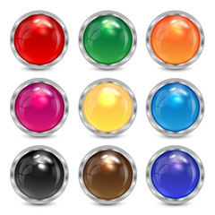 set multicolored glass buttons in a silver frame.colorful button
