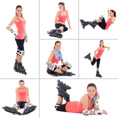 collage of young sporty woman on roller skates isolated on white