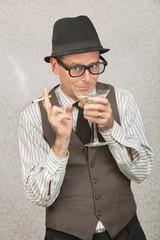 Smirking Man Sipping Martini