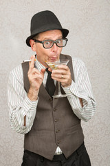 Giddy Man Drinking