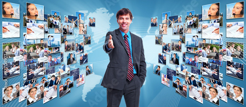 Business networking collage.