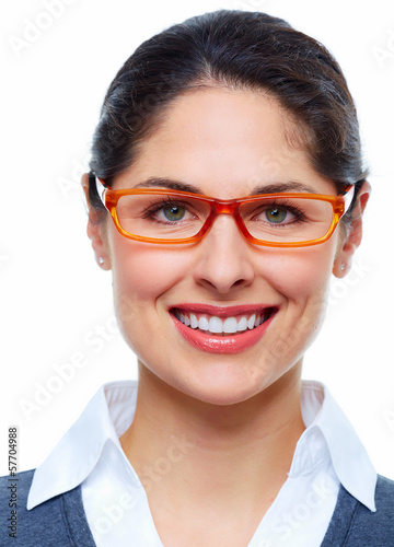 Woman with eyeglasses.