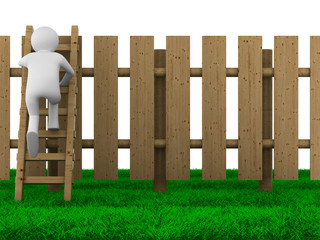 man climbs on ladder through fence. Isolated 3D image