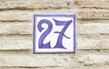 Number twenty-seven on a wall