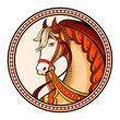 Horse emblem or sticker in russian native style