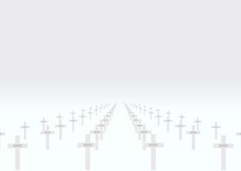 Cimetière militaire - croix avec plaques nominatives - fond gris