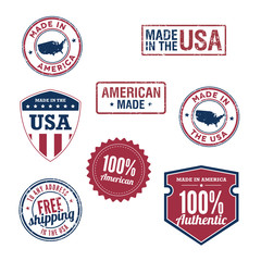 USA stamps and badges
