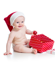 baby girl with gift box isolated