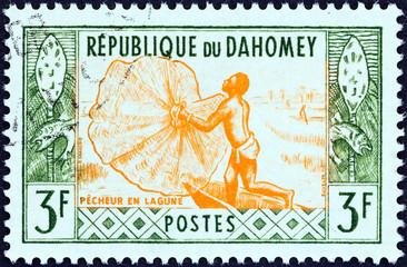 Fisherman casting net (Dahomey 1961)