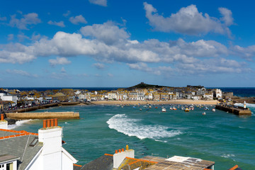 Harbour view St Ives Cornwall England uk with blue sky
