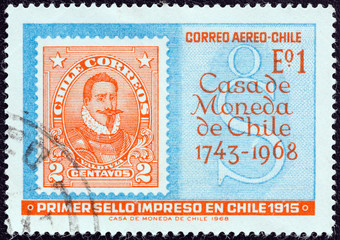 First Chilean stamp of 1915 printed by the mint (Chile 1968)