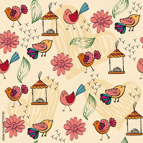 children's seamless pattern with multi-colored birds